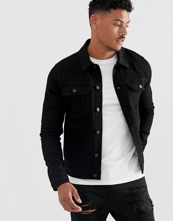 エイソス メンズ ジャケット・ブルゾン アウター ASOS DESIGN skinny western denim jacket in black Black