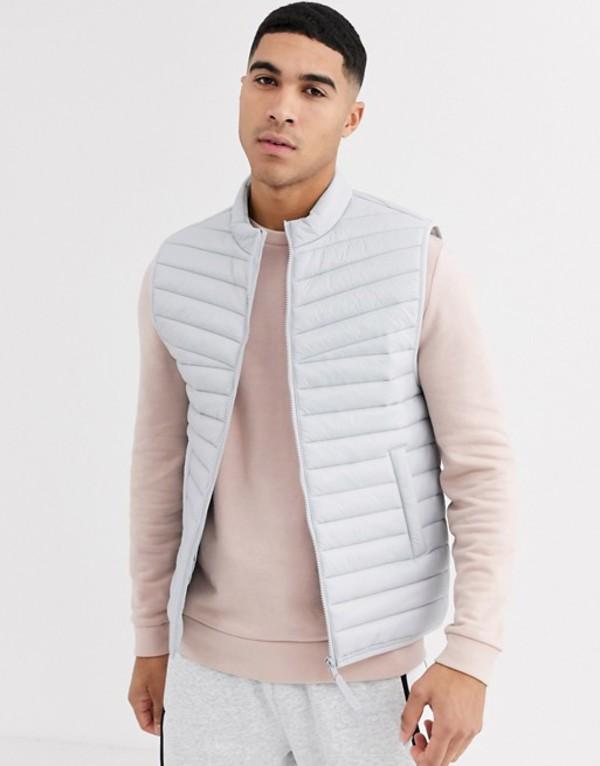 エイソス メンズ タンクトップ トップス ASOS DESIGN puffer vest in gray Gray