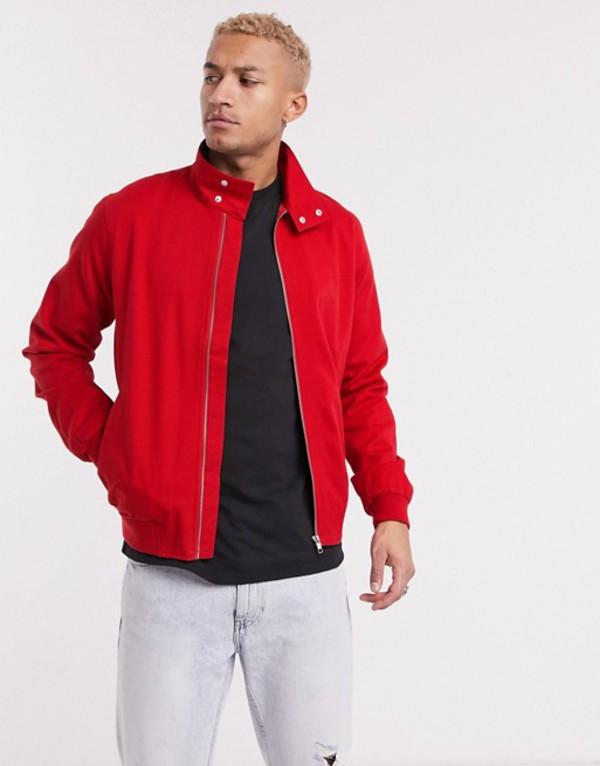 エイソス メンズ ジャケット・ブルゾン アウター ASOS DESIGN harrington jacket in red Red