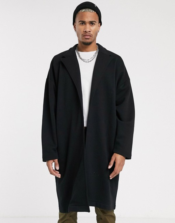 エイソス メンズ ジャケット・ブルゾン アウター ASOS DESIGN extreme oversized duster jacket in black with back taping Black