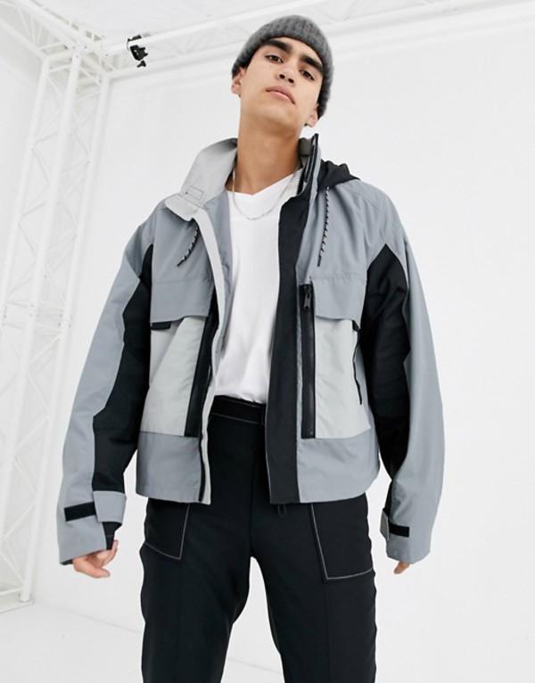 エイソス メンズ ジャケット・ブルゾン アウター ASOS DESIGN jacket with multi pocket in gray Gray