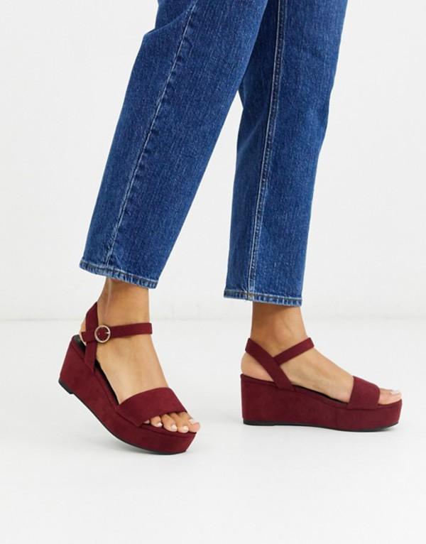 エイソス レディース サンダル シューズ ASOS DESIGN Tallie flatform sandals in berry Berry