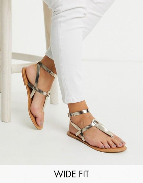 エイソス レディース サンダル シューズ ASOS DESIGN Wide Fit Fennel leather toe post sandal in gold Gold