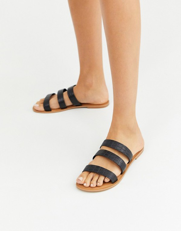 エイソス レディース サンダル シューズ ASOS DESIGN Farren leather flat sandals in black croc Black croc