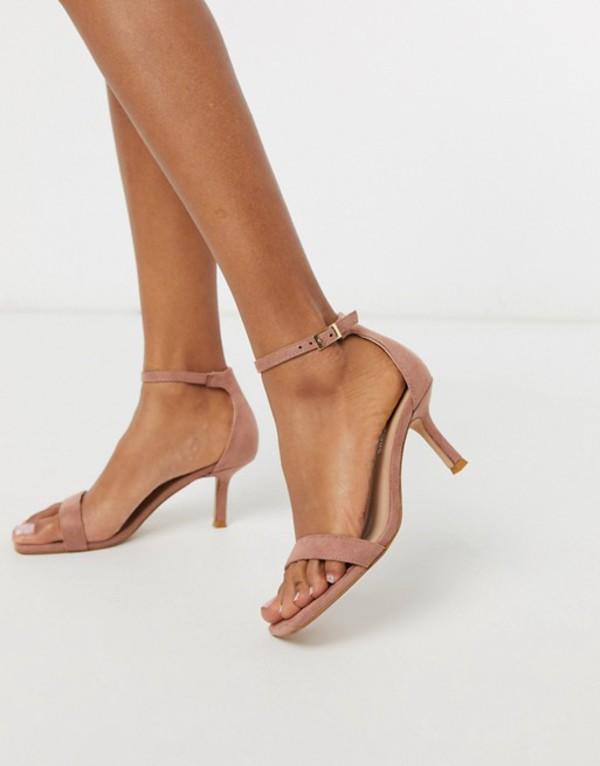 グラマラス レディース サンダル シューズ Glamorous square toe kitten heeled sandal in blush pink Pink blush