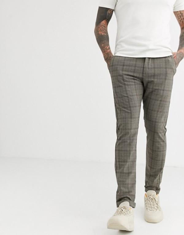 ジャック アンド ジョーンズ メンズ カジュアルパンツ ボトムス Jack & Jones slim fit stretch check pants in gray Beige