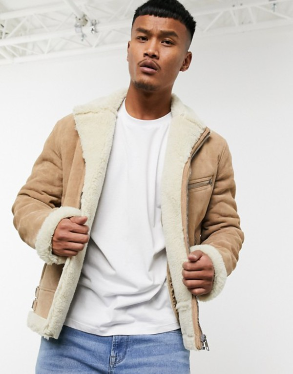 エイソス メンズ ジャケット・ブルゾン アウター ASOS DESIGN jacket in suede with teddy lining Beige