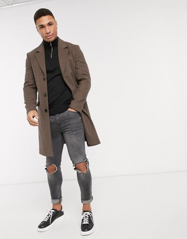 リバーアイランド メンズ コート アウター River Island wool overcoat in brown Brown