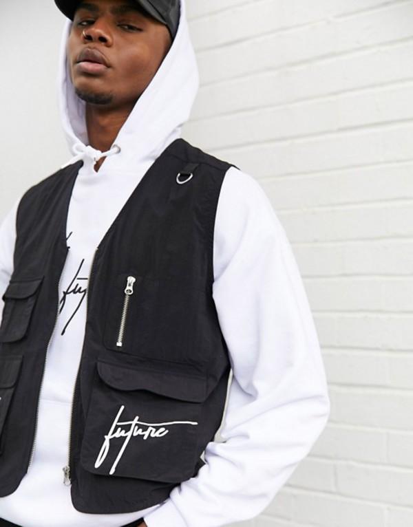 エイソス メンズ タンクトップ トップス ASOS DESIGN x Dark Future jersey utility vest in black with logo print Black