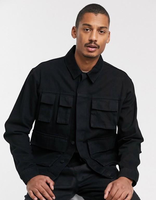 エイソス メンズ ジャケット・ブルゾン アウター ASOS DESIGN denim jacket with utility pockets in black Black