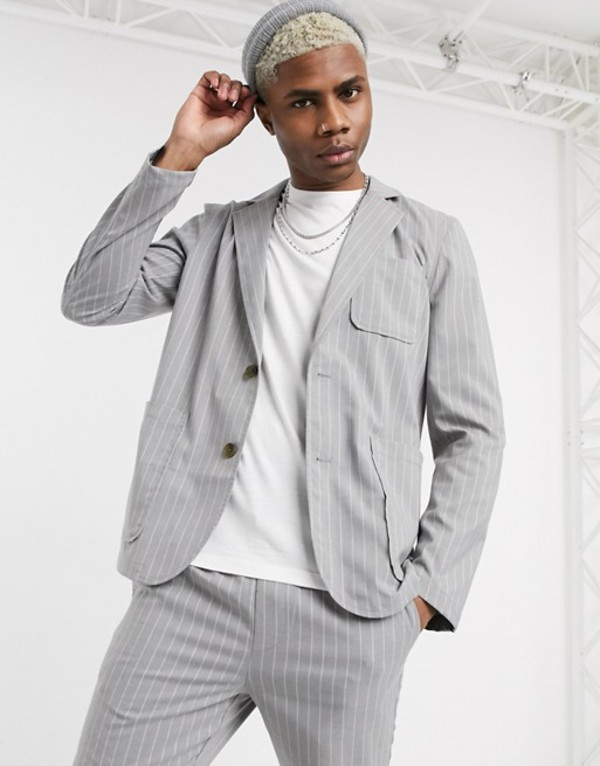 エイソス メンズ ジャケット・ブルゾン アウター ASOS DESIGN two-piece casual blazer with square pockets in gray pinstripe Gray