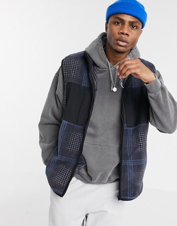 エイソス メンズ タンクトップ トップス ASOS DESIGN polar fleece vest in mono check Black