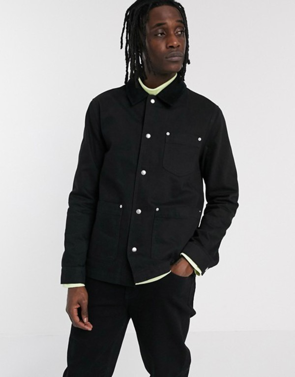 エイソス メンズ ジャケット・ブルゾン アウター ASOS DESIGN denim worker jacket in black with cord collar Black