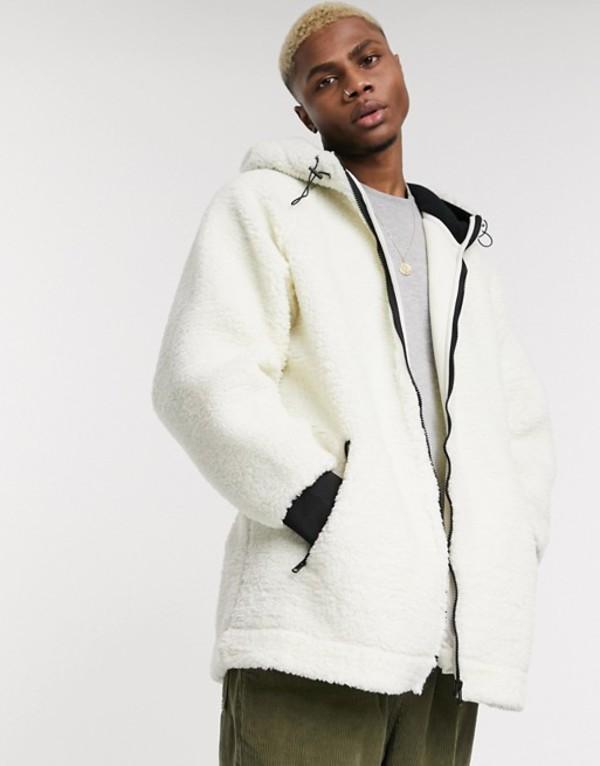リクレイム ヴィンテージ メンズ ジャケット・ブルゾン アウター Reclaimed Vintage zip through borg hooded jacket White