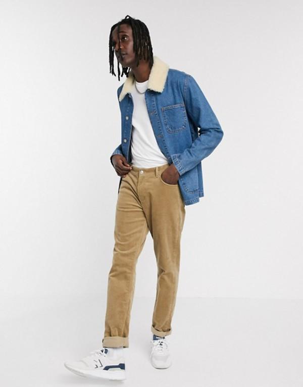 エイソス メンズ ジャケット・ブルゾン アウター ASOS DESIGN denim jacket in blue with detachable fleece collar Blue