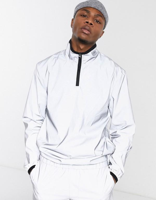 プルアンドベアー メンズ ジャケット・ブルゾン アウター Pull&Bear two-piece reflective jacket in gray Silver