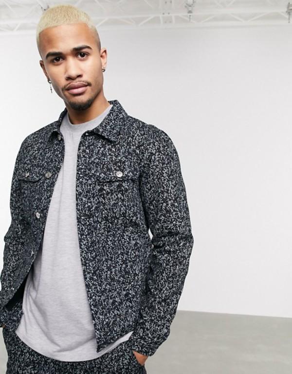 プルアンドベアー メンズ ジャケット・ブルゾン アウター Pull&Bear two-piece denim jacket in animal print gray Gray