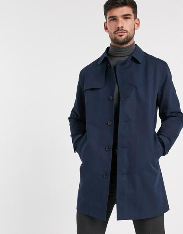 セレクテッドオム メンズ コート アウター Selected Homme cotton trench coat in navy Dark sapphire