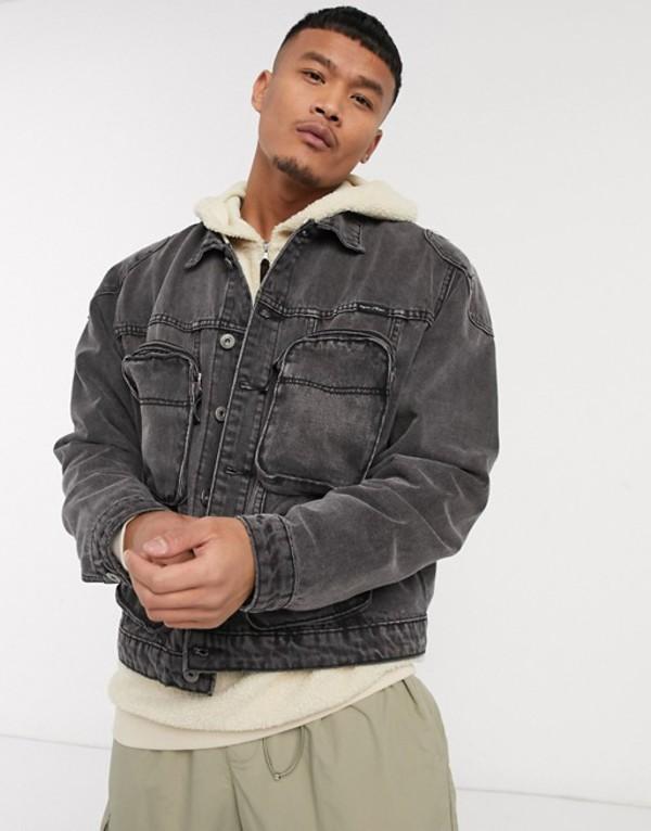 リキュールアンドポーカー メンズ ジャケット・ブルゾン アウター Liquor N Poker denim jacket with bubble pockets in washed gray Gray