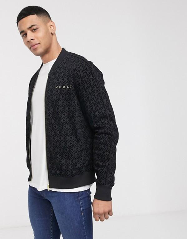 リバーアイランド メンズ ジャケット・ブルゾン アウター River Island velour slim fit jacket in black Black