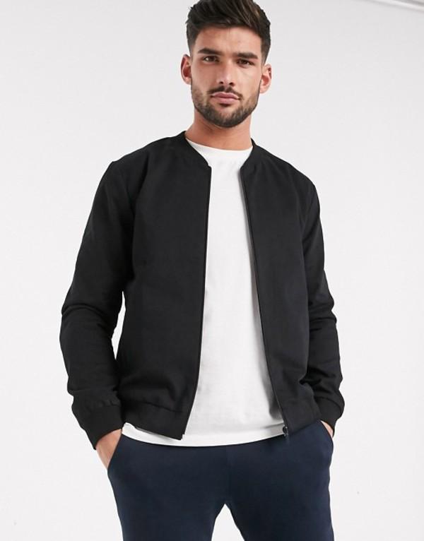 ニュールック メンズ ジャケット・ブルゾン アウター New Look lightweight cotton bomber jacket in black Black
