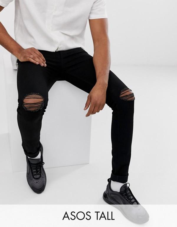 エイソス メンズ デニムパンツ ボトムス ASOS DESIGN Tall super skinny jeans with knee rips Black