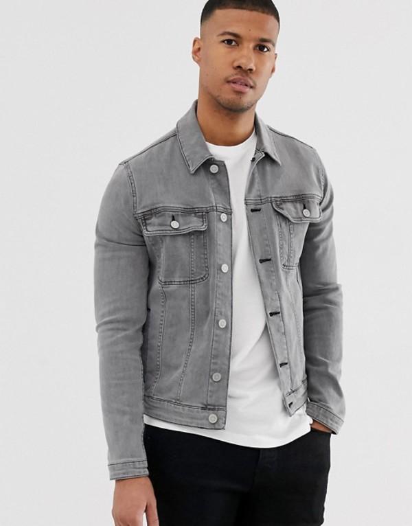 エイソス メンズ ジャケット・ブルゾン アウター ASOS DESIGN skinny western denim jacket in gray Gray
