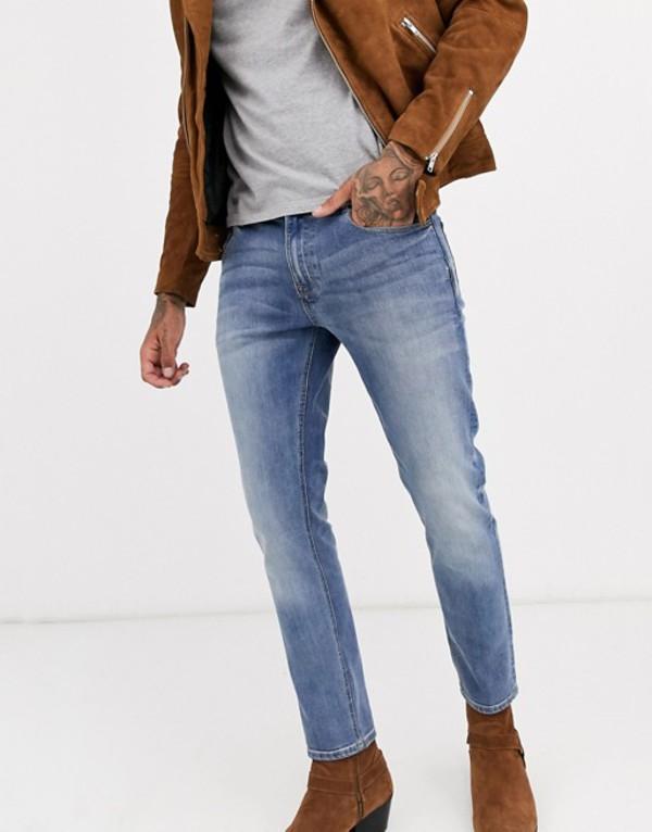 エイソス メンズ デニムパンツ ボトムス ASOS DESIGN skinny jeans in mid wash Mid wash blue