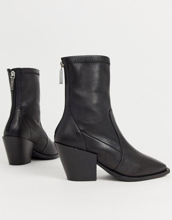 オフィス レディース ブーツ・レインブーツ シューズ Office Ashen black leather mid heeled ankle boots Black leather