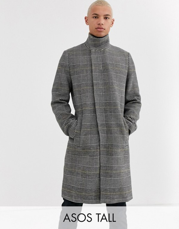 エイソス メンズ コート アウター ASOS DESIGN Tall wool mix jacket with funnel neck in check Gray