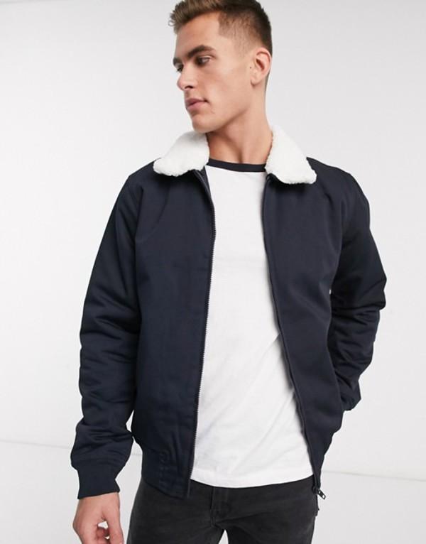 フレンチコネクション メンズ ジャケット・ブルゾン アウター French Connection padded harrington jacket with fleece collar Navy