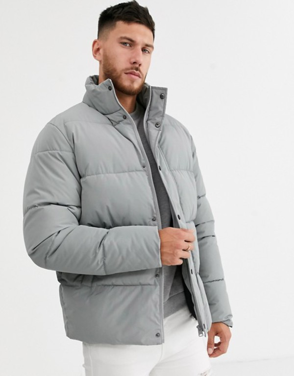 エイソス メンズ コート アウター ASOS DESIGN sustainable puffer jacket in gray with funnel neck Gray