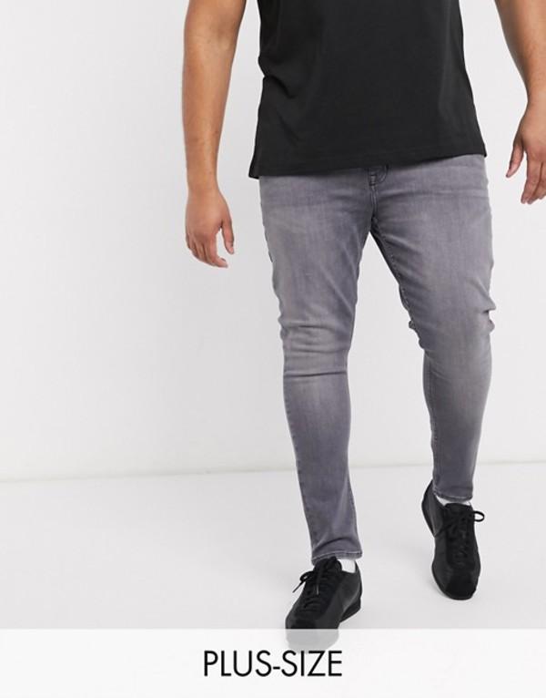 ニュールック メンズ デニムパンツ ボトムス New Look Plus skinny jeans in gray wash Light gray