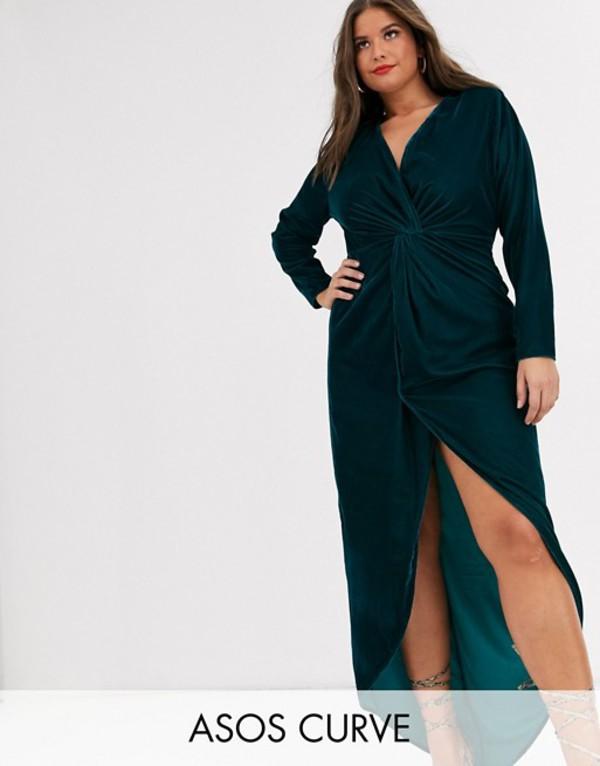 エイソス レディース ワンピース トップス ASOS DESIGN Curve long sleeve maxi dress with knot front bodice in velvet Deep teal