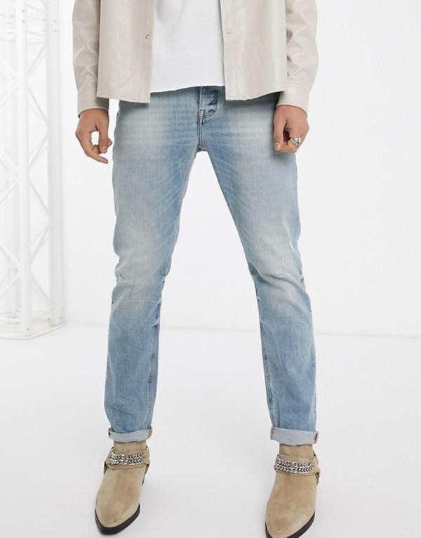エイソス メンズ デニムパンツ ボトムス ASOS DESIGN stretch slim jeans 'honestly worn' in vintage mid wash with abrasions Mid wash vintage