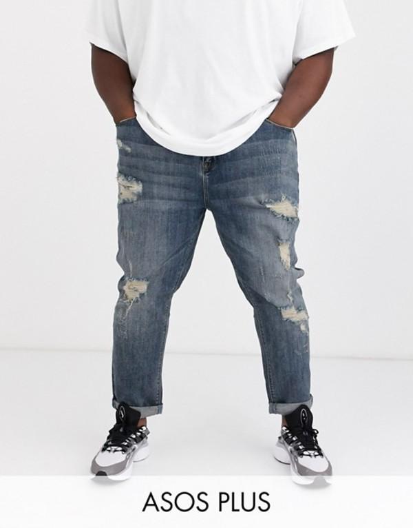 エイソス メンズ デニムパンツ ボトムス ASOS DESIGN Plus tapered jeans in dark wash blue with heavy rips Dark wash blue