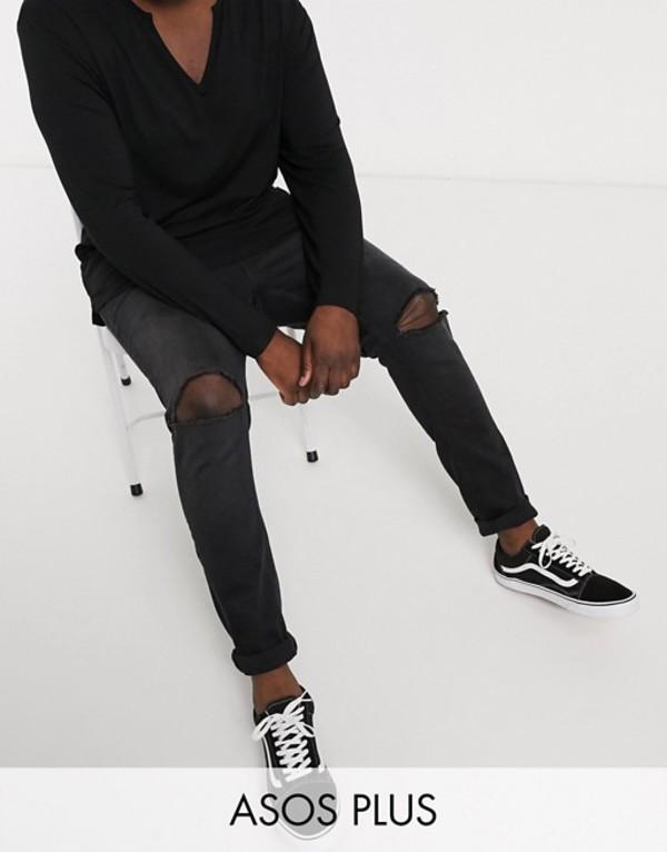 エイソス メンズ デニムパンツ ボトムス ASOS DESIGN Plus Super Skinny 12.5oz Jeans With Knee Rips In Washed Black Washed black