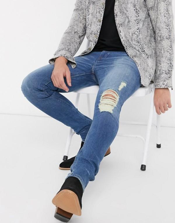 エイソス メンズ デニムパンツ ボトムス ASOS DESIGN super skinny jeans 'honestly worn' in vintage mid wash with knee rip Mid wash vintage