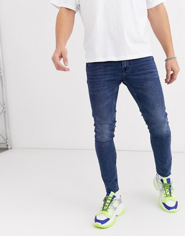 オンリーアンドサンズ メンズ デニムパンツ ボトムス Only & Sons skinny fit cropped raw edge jeans in blue wash Blue denim