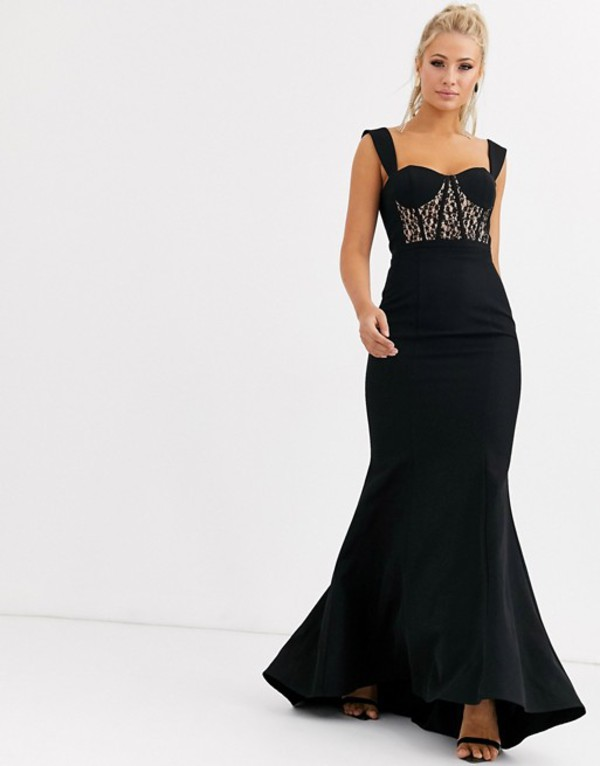 ジャーロ レディース ワンピース トップス Jarlo bustier maxi dress with lace insert in black Black