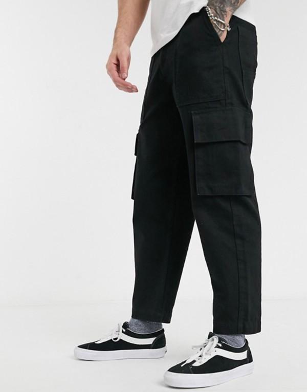 エイソス メンズ デニムパンツ ボトムス ASOS WHITE tapered jeans with cargo pocket in 14oz denim Black