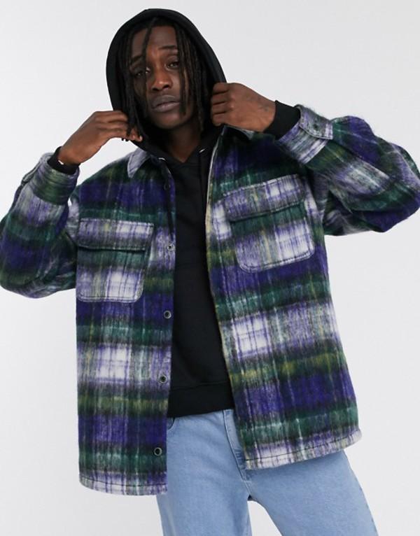 エイソス メンズ ジャケット・ブルゾン アウター ASOS DESIGN wool mix jacket in brushed blue check Blue