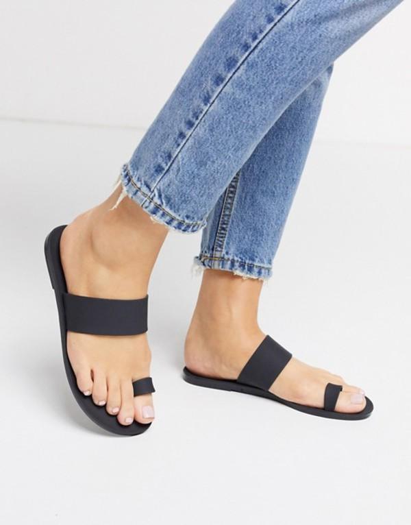 エイソス レディース サンダル シューズ ASOS DESIGN Fairfield toe loop jelly sandal in black Black matte