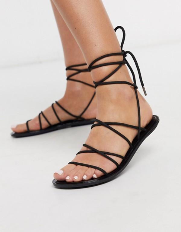 エイソス レディース サンダル シューズ ASOS DESIGN False Start sporty tie leg jelly sandal in black Black