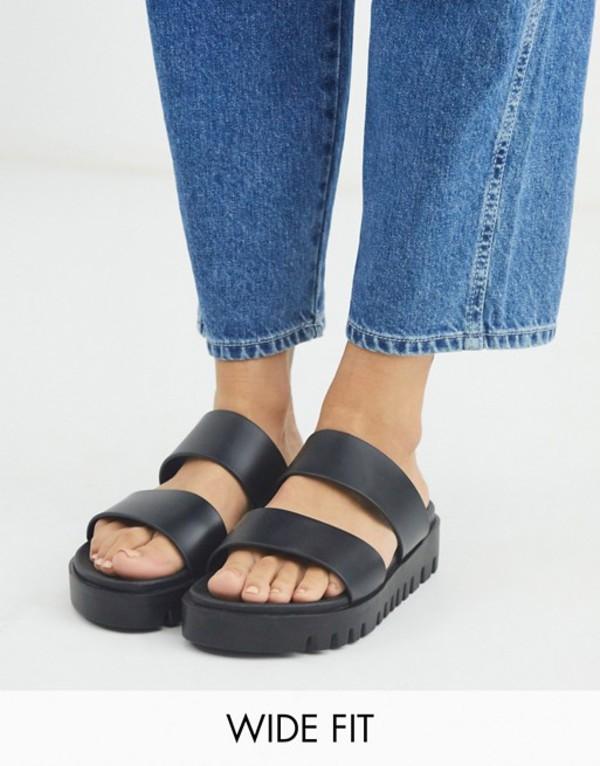 エイソス レディース サンダル シューズ ASOS DESIGN Wide Fit Fletch chunky jelly flat sandals in black Black