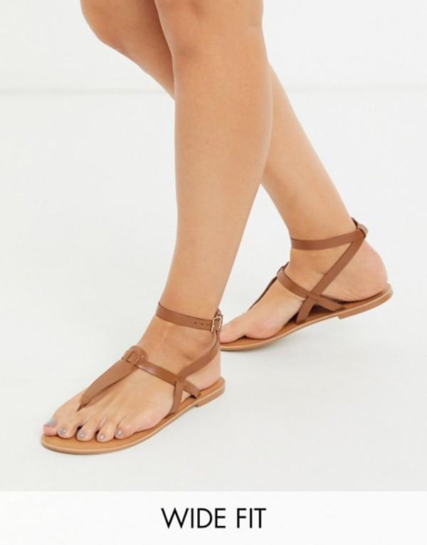 エイソス レディース サンダル シューズ ASOS DESIGN Wide Fit Fennel leather toe post sandal in tan Tan