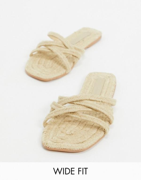 エイソス レディース サンダル シューズ ASOS DESIGN Wide Fit Jazzie espadrille flat sandals in natural Natural