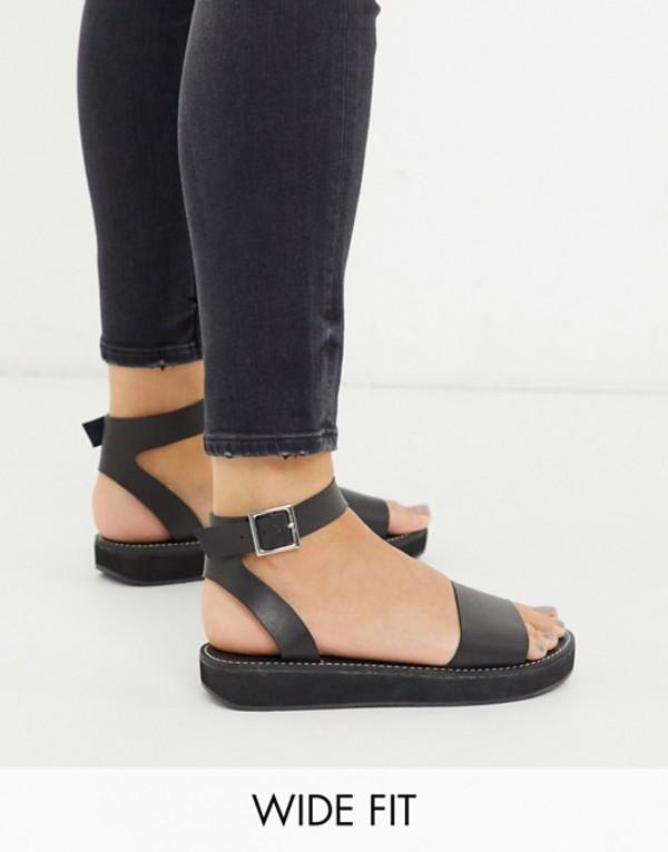 エイソス レディース サンダル シューズ ASOS DESIGN Wide Fit Forlong chunky flatform sandals in black Black
