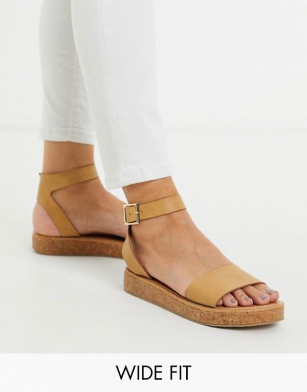 エイソス レディース サンダル シューズ ASOS DESIGN Wide Fit Forlong chunky flatform sandals natural Natural