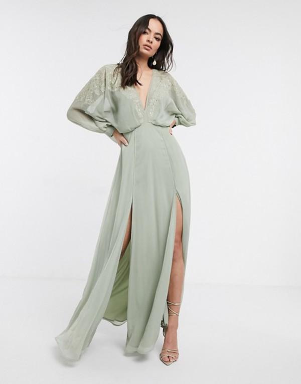 エイソス レディース ワンピース トップス ASOS DESIGN embroidered yoke crinkle chiffon maxi dress Sage green